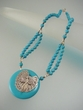 Blue Turquoise Dragonfly Sterling Silver Pendant Beaded Necklace