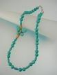Green Turquoise Butterfly & Sterling Silver Beaded Necklace