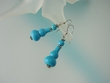 Blue Turquoise Sterling Silver Drop Earrings
