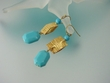 Modern Blue Turquoise and Vermeil Dangle Earrings