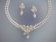 White  Pearl  Floral Necklace  &  Earrings Set