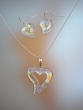 Dichoic Heart Pendant  Necklace  & Earrings Set