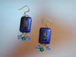 Unique Blue Dichroic Glass & Swarovski  Crystal Earrings