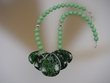 Green Jasper Sterling Silver Drop Beaded Necklace
