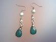 Blue Stone & Freshwater Coin Pearl  Earrings