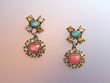Exotic Multicolor Dangle Earrings with Swarovski Crystal Earrings