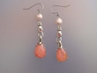 Pink Faceted  Stone & Freshwater Pearl  Dangle Earrings