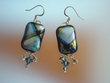 Unique Blue  Shade Dichroic Glass & Swarovski Crystal Earrings