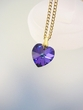 Purple Swarovski  Crystal Heart  Pendant Necklace