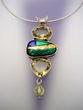 Dichroic & Gemstones  Sterling Silver Pendant Necklace