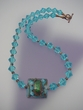 Dichroic Glass  &  Crystal Pendant  Necklace