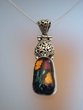Floral Dichroic Sterling  Silver Pendant Necklace