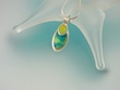 Gaspeite  Sterling ilver Pendant  Necklace