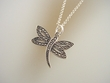 Marcasite Dragonfly Pendant  Necklace