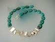 Unique Turquoise  Sterling Silver  Beaded Necklace