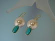 Turquoise & Freshwater Pearl Sterling Silver Earrings-PRL6671E