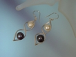 Grey & White  Freshwater  Pearl  Sterling  Dangle  Earrings
