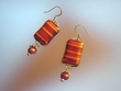 Unique Orange  Dichroic  Glass & Pearl  Earrings