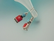 Turquoise & Coral Dangle Sterling Earrings - TQ3562E