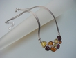 Artistic Baltic Amber Sterling Silver Mesh Necklace