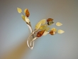 Unique Multicolor  Baltic  Amber & Sterling  Silver  Spray Brooch