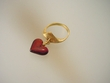 Cherry  Baltic Amber Dangle Heart  &  Vermeil  Ring
