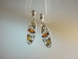 Multicolor  Baltic Amber Sterling Silver Marquise Earrings
