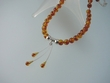 Unique Baltic Amber Round Beads Necklace & Sterling Silver /Vermeil