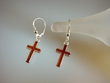 Honey Baltic Amber Inlaid Sterling Cross Earrings