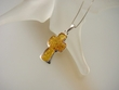 Modern Light Honey Baltic Amber Sterling Silver  Cross