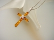 Honey Baltic Amber  & Sterling Silver Cross