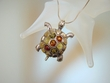 Multicolor Baltic  Amber Sterling Silver Turtle PIN / Pendant Necklace