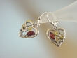 Multicolor Baltic Amber & Sterling Silver Heart Earrings