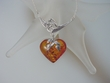 Honey Baltic  Amber Heart  Sterling Silver Drop  Necklace