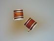 Inlaid  Baltic  Amber  & Sterling  Silver  Cufflinks