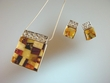 Inlaid Butterscotch ,Honey & Green  Baltic Amber  Pin / Pendant Set