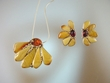 Butterscotch & Honey Baltic Amber Sunflower PIN/PENDANT Necklace  & Earrings Set