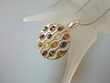 Modern Multicolor Baltic  Amber  & Sterling Pendant Necklace