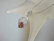 Honey Baltic Amber Sterling Silver  Filigree Pendant Necklace