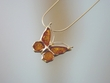 Butterfly Honey Amber  Sterling  Silver Pendant Necklace
