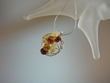 Artistic Baltic  Amber Sterling Silver Pendant Necklace