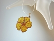 Baltic Amber Flower & Sterling Silver Pendant Necklace