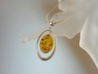 Honey Baltic Amber Sterling Silver Oval Pendant Necklace