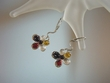 Multicolor Baltic Amber Flower Sterling Silver Earrings