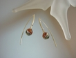 Artistic Green & Honey Baltic Amber Sterling Silver Earrings