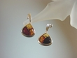 Inlaid Multicolor Baltic Amber & Sterling Silver Earrings