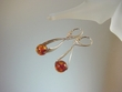 Contemporary  Honey Baltic  Amber Sterling Silver Earrings
