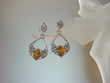 Honey Baltic Amber Sterling Silver Filigree Earrings