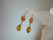 Honey Baltic Amber  Sterling Silver Dangle Earrings