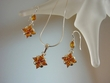 Honey Baltic Amber Sterling Silver Necklace Set